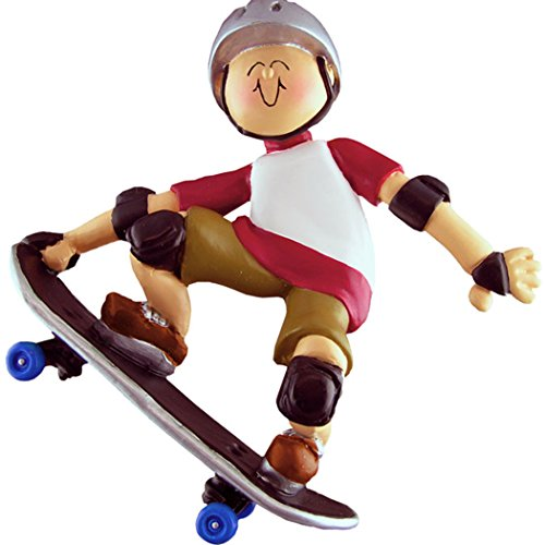 Personalized Skateboarder Boy Christmas Tree Ornament 2019 - Action Sport Profession Man with Helmet Freestyle Ride Perform Tricks Lover Hobby Recreational Activity - Free Customization