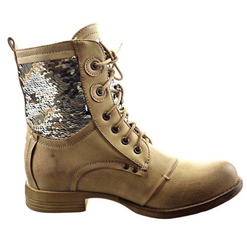 CM Brillant 5 Sopily Talon femmes bloc Bottine Mode Rangers Montante 2 Beige Chaussure qPAq1
