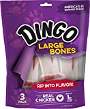 Dingo Rawhide Bones For Large Dogs, Chicken, 3-Count Review