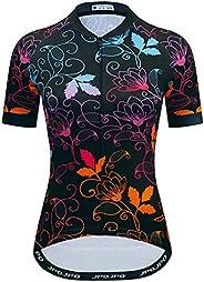 Women's Cycling Jersey Short Sleeve Biking Shirts Bike Clothing Bicycle Jacket with Pockets Breath