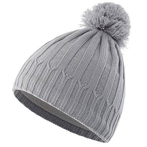 Feelingwear Toddler Boys Winter Warm Hat Fleece Lined Ribbed Knit Beanie Skull Cap with Pom Grey