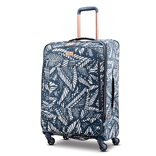 American Tourister Checked-Medium, Floral Indigo Sand