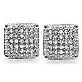 Platinum Plated White CZ Cubic Zirconia Square Cube Dice Shaped Mens Ladies Unisex Hip Hop Stud Earrings