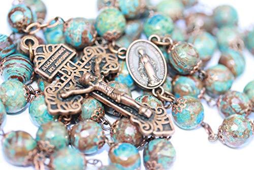 Large Heaven and Earth Jasper 10mm 5 Decade Natural Stone Bead Rosary in Copper Made in Oklahoma