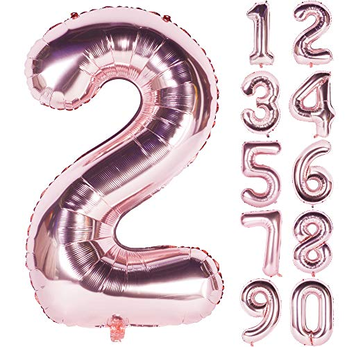 40 Inch Champagne Large Numbers 0-9 Birthday Party Decorations Rose Gold Helium Foil Mylar Big Number Balloon (Digital 2, Champagne)