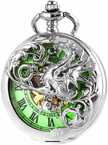 Pocket Watch Antique Dragon Mechanical Skeleton SIBOSUN Double Cover with Chain Men - Luminous Dial