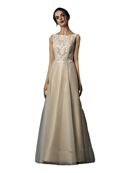 Womens Simple Lace Beach Bridal Dress Ivory Simple Long Formal Wedding Dresses