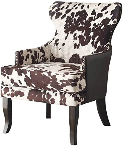 Oran, Fabric and Faux Leather Upholstered, Rustic Industrial, Accent Side Living Room Chair in Brown