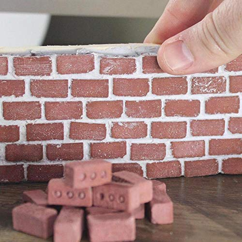 Fabal Mini Cement Bricks to Build Small Walls and Mortar Let You Build Your Own Tiny Wall Mini Bricks Toy +Cement + Shovel Set (Red)