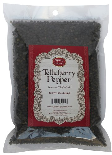 Spicy World Peppercorn (Whole)-Black Tellicherry, 16 Oz. bag