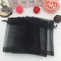 "Amaonm Pack of 100 4""x6"" Organza Gift Bags Wedding Party Favor Bags Jewelry Pouches Wrap Yarn Bag Jewelry bag Gift Bag Cosmetic Bag Bandy Fruit Bag Pouch Wrap Favor Bag for Party Wedding (Black)"