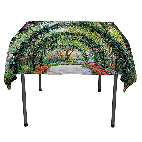 Country Home Decor Tablecloth for Wedding Flower Arches with Pathway in Ornamental Plants Garden Greenery Romantic Picture Green Red Multicolored Table Cloth Spring/Summer/Party/Picnic 70 by 70 -