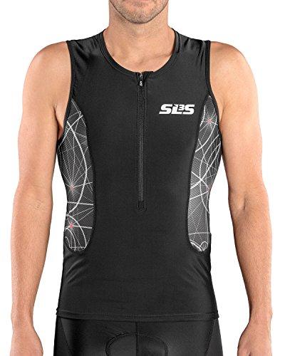 SLS3 Triathlon Men`s Tri Top FRT 2018 | Tight Fit | 2 Pockets | Zipper | Jersey | Singlet | German Designed (Black/Red Constellation, (Fit Singlet)