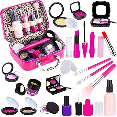 TEPSMIGO Pretend Makeup Kit for Girls, Kids Pretend Play Makeup Set – with Cosmetic Bag for Birthday Christmas, Toy Makeup Set for Toddler, Little Girls Age 3+(Not Real Makeup)