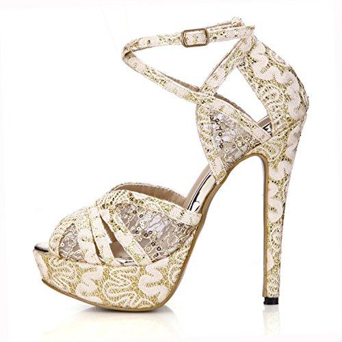 estivi Tacchi gomma 14cm base fibbia donna di punta da cm in pizzo 4U® Suola scarpe plateau Strappi Best Sandali di in sposa trasversali Comodi 1 da oro 3 noccioli alti EwSq6aZ