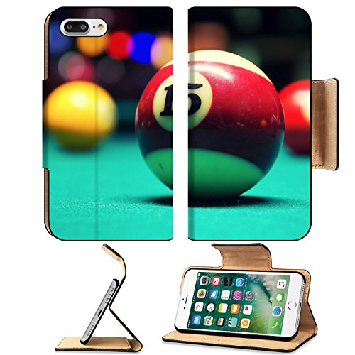 Luxlady Premium Apple iPhone 7 Plus Flip Pu Leather Wallet Case iPhone7 Plus 22134211 A Vintage style photo from a billiard balls in a pool table Noise added for a film effect