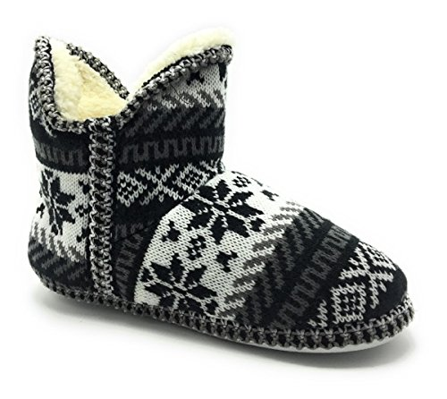 DEV Womens Girls Sweater Knitted Upper Indoor-Outdoor Round Toe Fur Lined Bootie Slipper Black/Jesse-02 Pe7FGEgjbT