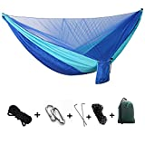 Portable Double/Single person Camping Parachute Fabric Hammock with Mosquito Net - Nylon Hammock For Outdoor Travel Indoor Camping Hiking (Light blue and Blue)