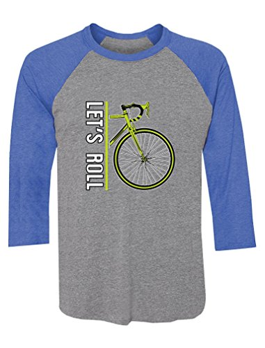 (Let's Roll - Cycling Bike Bicycle Lovers Gift 3/4 Sleeve Baseball Jersey Shirt XX-Large Blue/Gray)