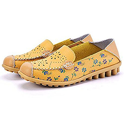 Labato Style Womens Floral Print Hollow Out Driving Loafers Leather Slip On Flat Shoes Yellow JowjPj