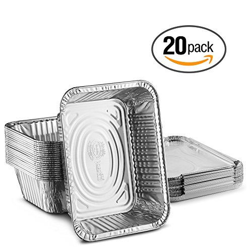 (Propack Disposable Aluminum Oblong Foil Pans, Containers, With Foil Lids, 5 lb. Food Storage Containers Pack Of 20)