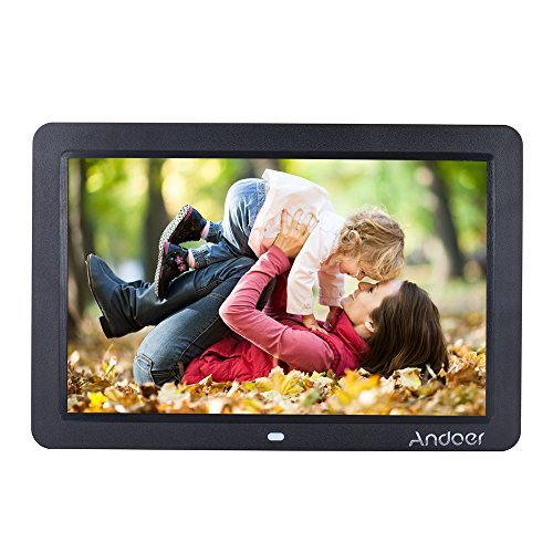 Andoer Digital Picture Frame 12-Inch HD Digital Photo Frame Picture Music Video MP3 MP4 Player High Resolution Calender Date Display Motion Sensor with Remote Control