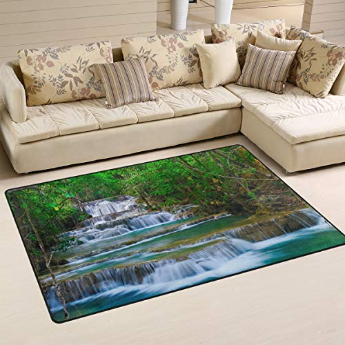 Nature Area Rug 3' x 5'(36 x 60 Inches / 91 x 152 cm), Forest Waterfall Polyester Area Rug Mat for Living Dining Dorm Room Bedroom Home Decorative