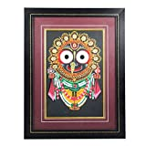Handmade Crafted Dokra Art Holy Jagannath Wall Hanging Painting with Frame for Home Décor (18/14 Inch)