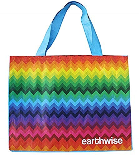 Reusable Shopping Bag Grocery Tote Durable Soft Lightweight Tyvek Material with Fun Stylish Colorful Print - Great for Everyday Multi Use like Shopping, Beach/Pool/Overnight