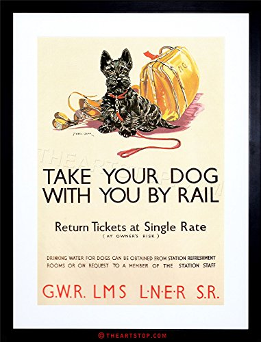 Scottish Terrier Paintings - TRAVEL VINTAGE AD POLICY DOGS RAIL TRAIN SCOTTISH TERRIER FRAMED PRINT F12X6869