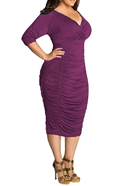 Women's V Neck Half Sleeves Sexy Plus Size Ruched Midi Dress