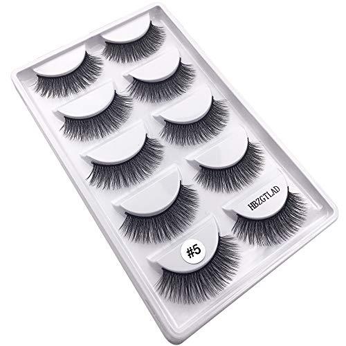 f7fa4e145e4 5 Pairs 100% Real Mink Eyelashes 3D Natural False Eyelashes 3D Mink Lashes  Soft Eyelash