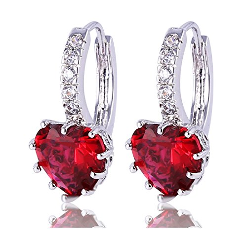 (GULICX White Gold Tone Cubic Zirconia Heart Red Pierced Huggie Hoop Earrings Ruby Color Girl Gift)