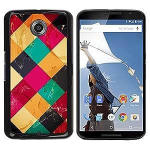 """Pulsar Snap-on Series Teléfono Carcasa Funda Case Caso para Motorola Google NEXUS 6 / XT1100 , Patrón acolchado Polígono Rosa Amarillo"""""""