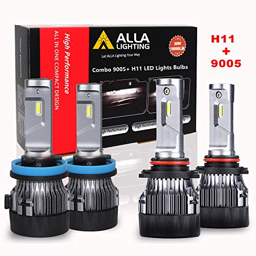 ALLA Lighting S-HCR H11 Low Beam HB3/9005 High Beam LED Bulbs Combo Kits Extreme Super Bright Replacement for Cars, Trucks, Xenon White (4 Packs, 2 Sets)
