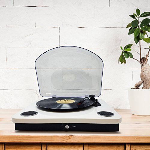 Photive Spin Vinyl Record Player with Built-in Speakers | 3-Speed Stereo USB Turntable Supports Vinyl to MP3 Recording | Bluetooth and RCA Connectivity (Piano White) by Photive (Image #4)