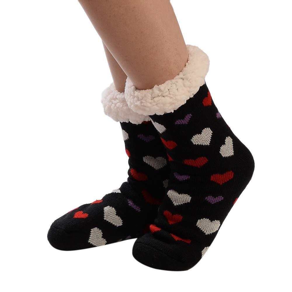 Pgojuni Christmas Fashion Women's Cotton Socks Print Thicker Anti-slip Floor Socks Carpet Socks 1PC