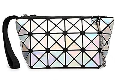 Kayers Sulliva Women's Fashion Hologram Geometric Plaid Wristlet Purse Clutch Wallet Shoulder Handbags