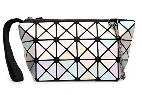 Kayers Sulliva Womens Fashion Hologram Geometric Plaid Wristlet Purse Clutch Wallet Shoulder Handbags