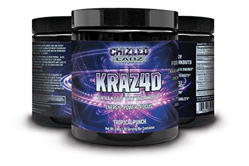 Meilleur Pre Workout KRAZ4D amélioré la formule pour hommes & femmes. Booster d'énergie qui aident à bord, Reps, puissance, pompe, mise au point pour un entraînement sérieux. Aider la croissance musculaire & Endurance avec Yohimbe. Poudre, Supplém