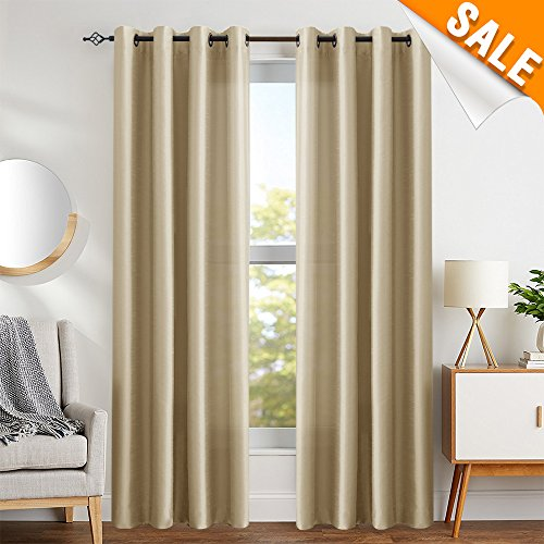 Faux Silk Dupioni Window Curtains for Living Room 95 inches Long Satin Grommet Curtain Panels for Bedroom Light Filtering Privacy Window Treatments, Taupe, 2 Panels (Silk Panels Gold Curtain)