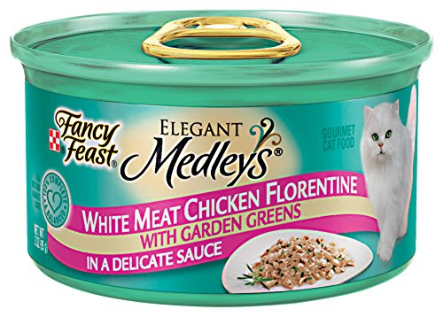 Fancy Feast Wet Cat Food, Elegant Medleys, Viande blanche poulet florentine avec Jardin Verts dans une sauce délicate, trois onces, paquet de 24