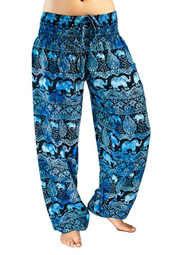 PI Yoga Pants - Women's Lounge Boho Athleisure Wear, Scrunched Bottom (Stretches from US Size 0-12) - Confidence of The Elephants (Dark Blue)