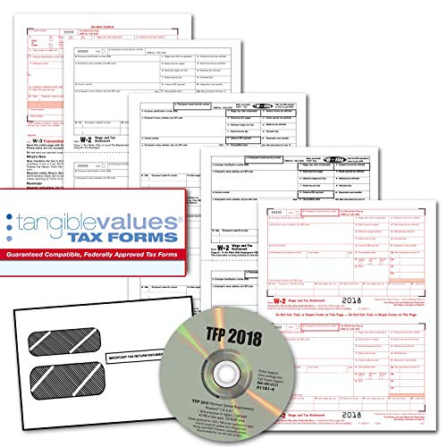 (Tangible Values W-2 Laser Forms (4-Part) Kit with Envelopes Plus TFP Software for 25 Employees (2018)   )