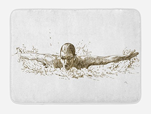 Ambesonne Olympics Bath Mat, Swimmer Swimming Butterfly Style
