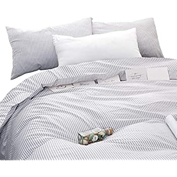 Wake In Cloud - Gray White Striped Duvet Cover Set, 100% Cotton Bedding, Grey Vertical Ticking Stripes Pattern Printed on White, with Zipper Closure (3pcs, Queen Size)
