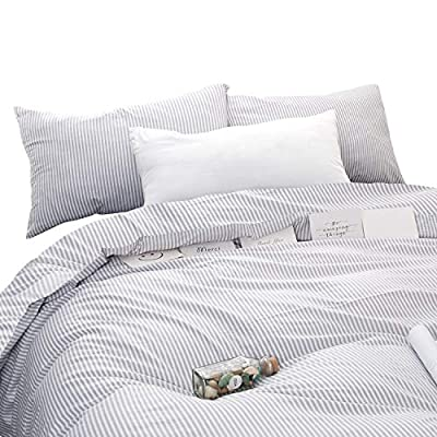 Wake In Cloud - Gray White Striped Comforter Set, Grey White Vertical Ticking Stripes Modern Pattern Printed, 100% Cotton Fabric with Soft Microfiber Inner Fill Bedding (3pcs, King Size) - 【Design】Grey and white vertical ticking stripes pattern print. Simple modern gift for teens, boys, girls, men or women. 【Set】1 comforter 104x90 inches (king size), 2 pillow cases 20x36 inches.For extra pillow cases, please search B07SCLDN5W. 【Material】100% cotton outer fabric with ultra soft microfiber inner fill. Durable, breathable, hypoallergenic, fade-resistant and machine washable. - comforter-sets, bedroom-sheets-comforters, bedroom - 51olzU2RksL. SS400  -