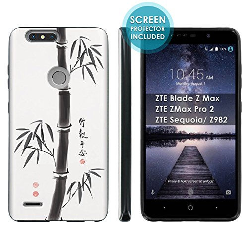 [Mobiflare] TPU Phone Cover for ZTE Blade Zmax Pro 2/ZTE Sequoia [Black] Ultraflex Gel Phone Case Screen Protector Included - [Chinese Bamboo] for ZTE Blade Z Max Z982 [6