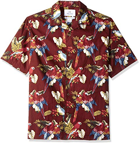 28 Palms Men's Relaxed-Fit 100% Cotton Tropical Hawaiian Shirt, Red Parrot, Large