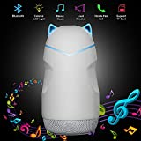 Mini Speaker for Kids , Wireless Bluetooth Speaker with Colorful LED Light Cute Tiny Portable Small Loud Little Speakers with Mic Support TF Card for Kid Children Boy Girl Bedroom Home (White)